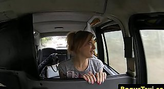 Naughty British babe pussyfucked by taxi driver