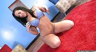 Brunette with big boobs and ass toys her wet cunt