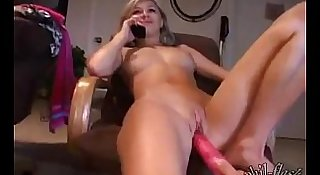 Kasia being fucked by a dildo while talking to mom on the phone